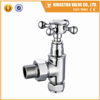 "K117 Traditional design cross head brass angle radiator valves forged body nickel plating polished 1/2""*15mm yuhuan factory"