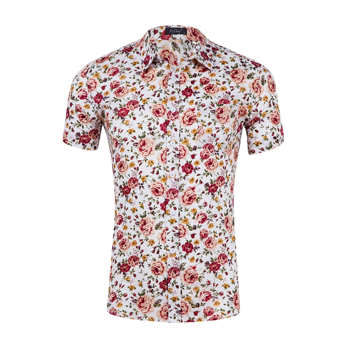 LX179 Hot sale summer design floral print button down short sleeve t shirt in stock /OEM Custom