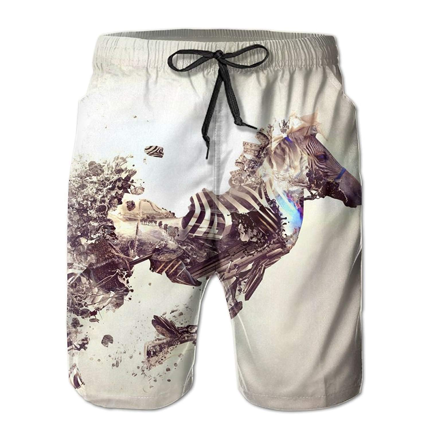 Beachsite Artistic Bonsai Explosion Japan Zebra Men's/Boys Casual Quick-Drying Bath Suits Elastic Waist Beach Pants With Pockets