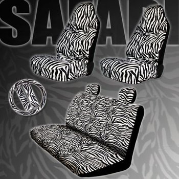 Zebra Print High Back Car Seat Covers And Rear Bench Cover With Head Rest Set