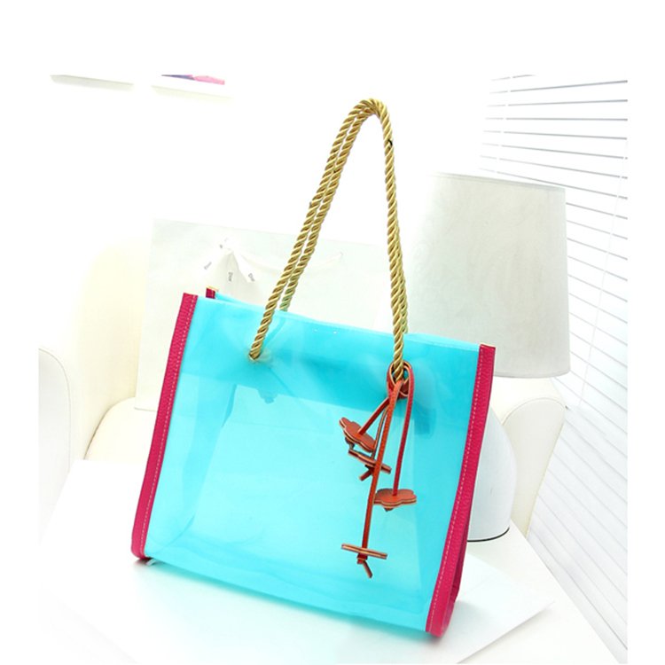 2015 Summer Jelly Transparent Bag Cheap Fashion Beach Bags for Women Waterproof pvc Handbags Large Clear Flower Tote Bag