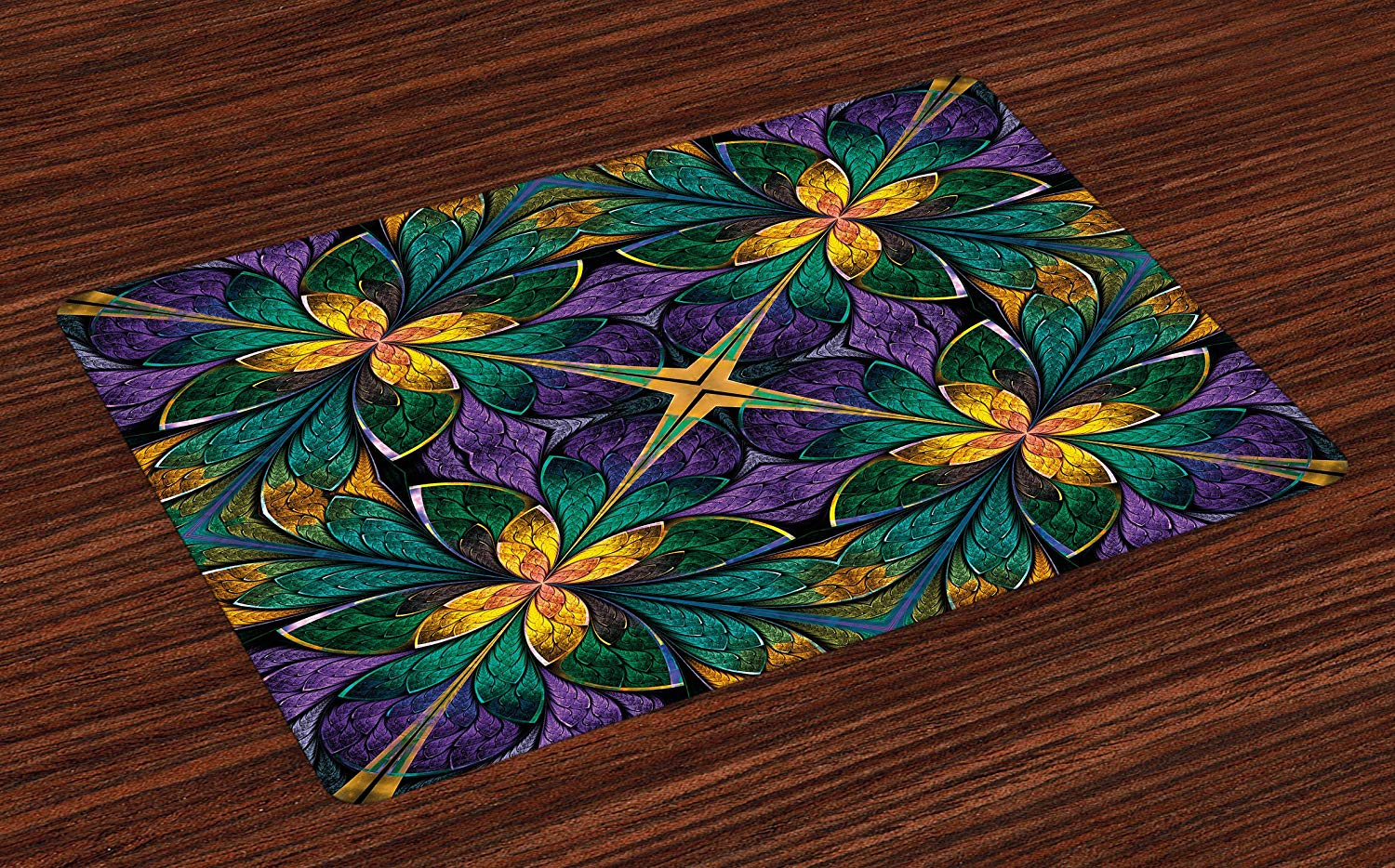 Ambesonne Fractal Place Mats Set of 4, Antique Ornate Symmetric Stained Glass Mosaic Window Style Floral Tile Pattern, Washable Fabric Placemats for Dining Room Kitchen Table Decor, Green Purple