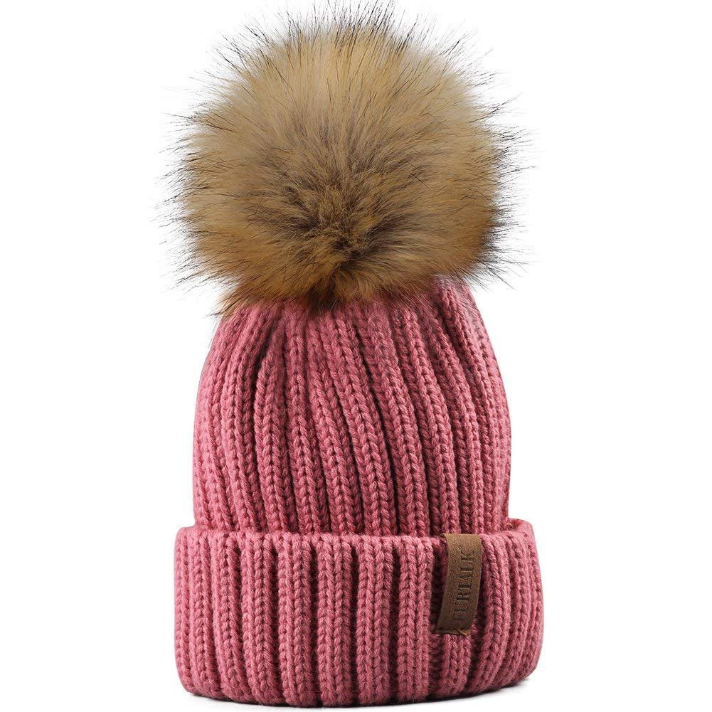 0cfe382793377 Get Quotations · FURTALK Kids Winter Knitted Pom Faux Fur Ball Pom Pom Cap  Kids Beanie Hat (Ages