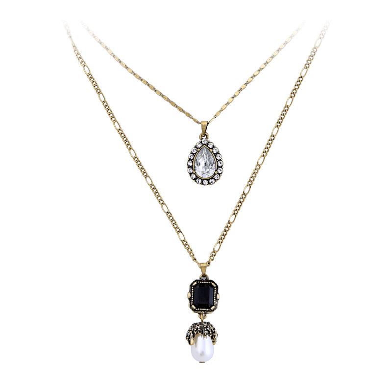7f8ba31cb233 Bijoux Dubai joyería de moda En Chile de cristal colgante capas collar
