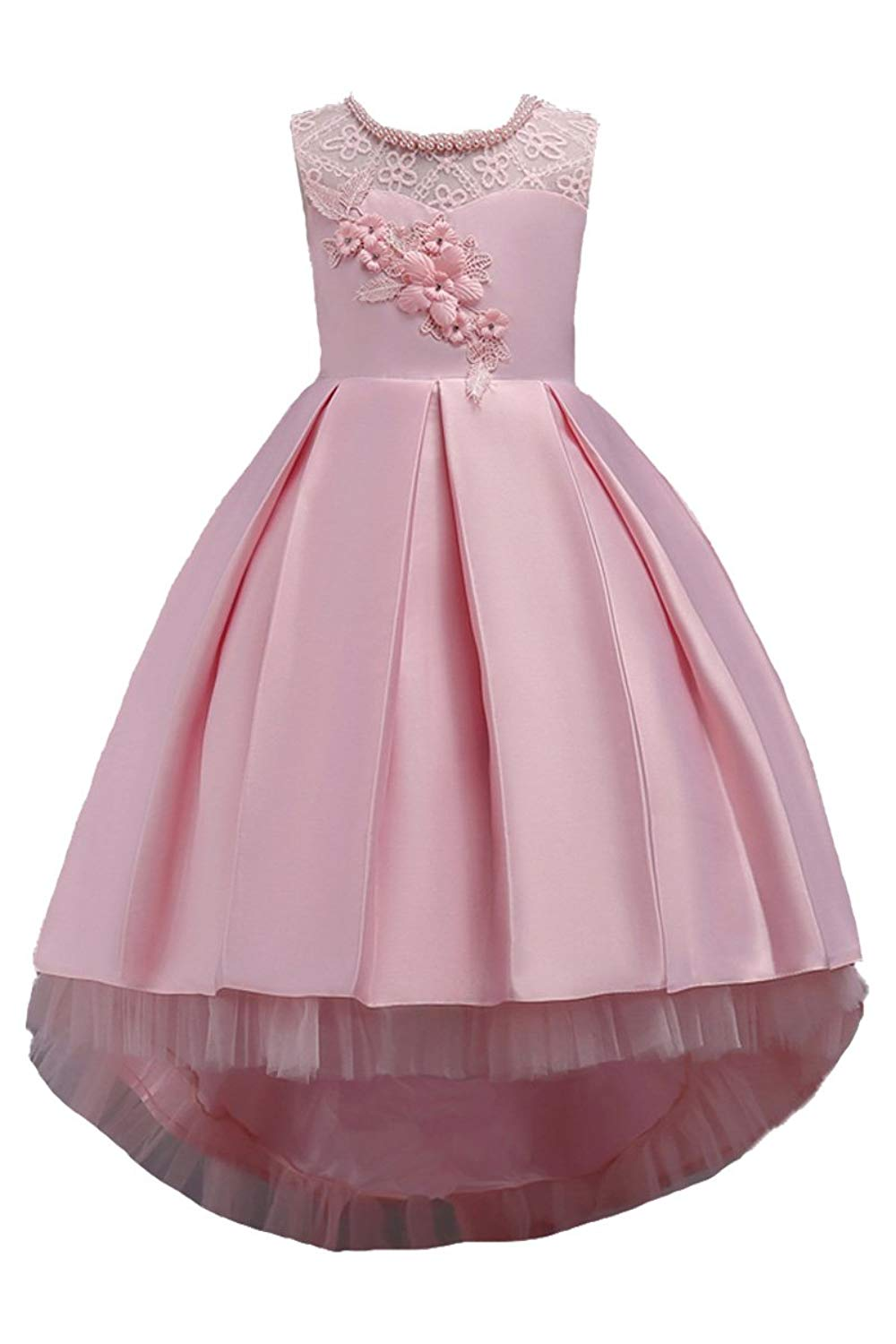 YMING Girls Lace Party Dress Princess Weeding Prom Grow Long Dress with Pearl