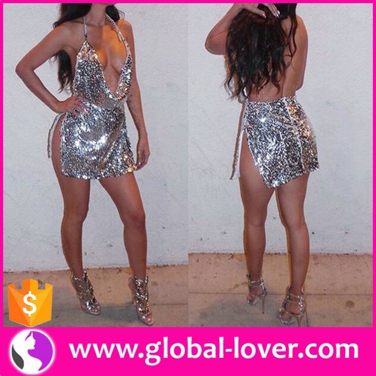 Sexy Backless Party Dress Sequin Silver Club Dress Sex Valentine Dress