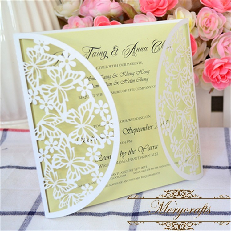 Laser Cut Paper Puberty Ceremony Invitation Card Purple Butterfly ...