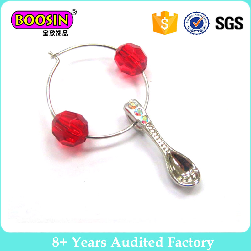 Wholesale jewelry Personalized wine charm with spoon