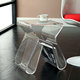 clear acrylic night table coffee table with magazine holder rack