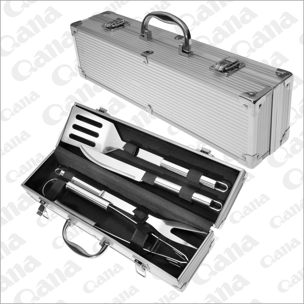 2016 wholesales Stainless steel professional BBQ tool set with case
