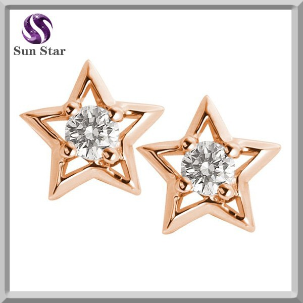 925 Sterling Silver Gold Plated Solitaire Star Frame Earrings fashion jewelry