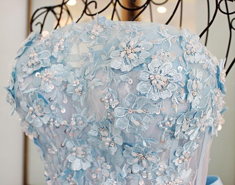25b45d9ab7ffdb LS67128 Echte verwijderbare band riem baljurk strapless korte puffy prom  jurken vet avond laatste lange lichtblauw prom jurk. Model Foto vanvet  avondjurk