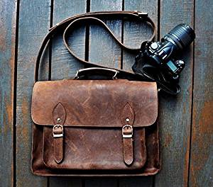 FeatherTouch Genuine Leather Camera Bag Messenger Bag Camera Case Leather Bag Dslr Padded Camera Bag 15X10X6 Inches Brown