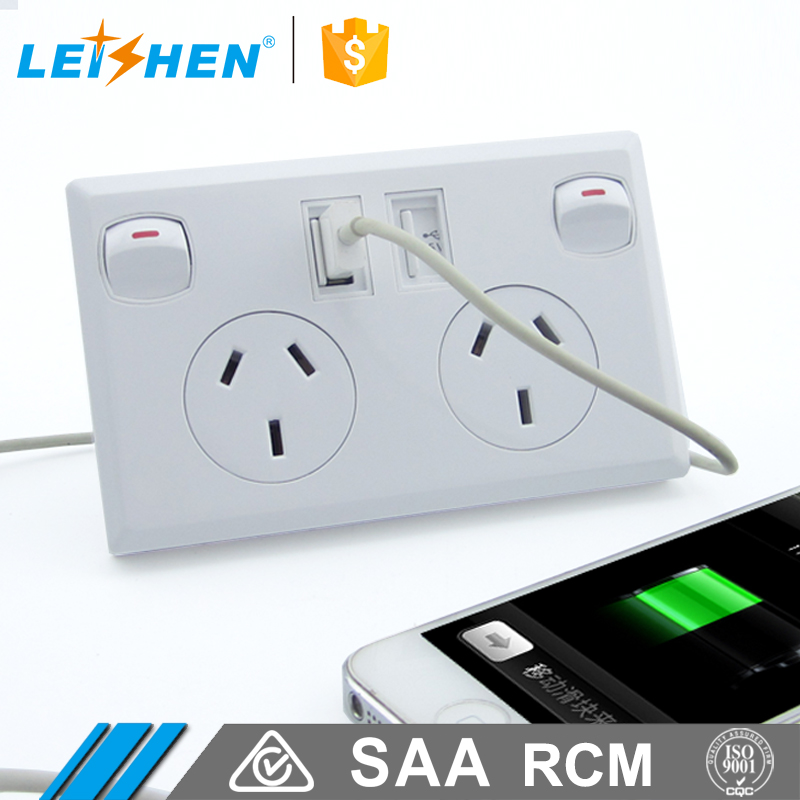 10A Dual USB Double Australian Power Point Wall Power Supply USB Socket Switch