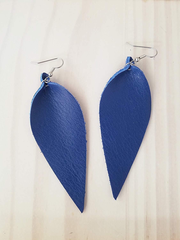 Cobalt Blue/Leather Statement Earrings - Large/Joanna Gaines Earrings/Leaf