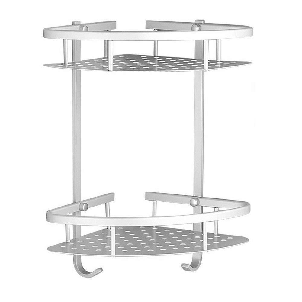 Aluminum Bathroom Shelf Shower(No Drilling),2 Tiers Durable Shelf Kitchen Storage Shelf Basket Holder,Adhesive Suction Corner Shelves Shower Caddy with 2 Hooks for Bathroom, Toilet, Hotel, kitchen