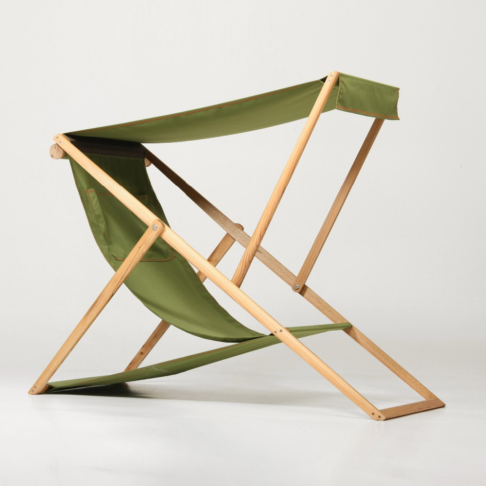 Xz Shape Wooden Frame Folding Beach Chair