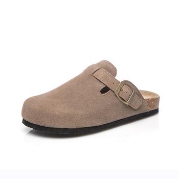 Лидер продаж 2018 деревянный обувь корова верх из замши сабо из пробки  стелька тапочки 801 2f60c4d53c1