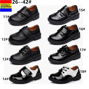 GUGUTREE 26-42# boys school casual dress shoes,children casual students school black pu shoes BH2