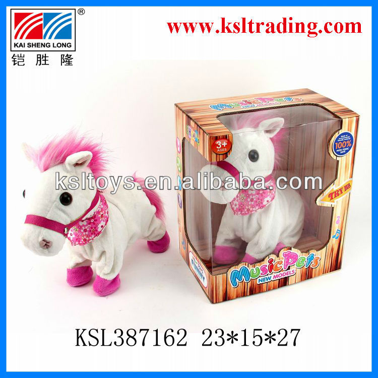 intelligent voice activated toy of plush white horse