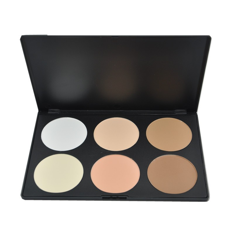 Hot 6 Color Pressed Powder Cosmetic Foundation Cream Contour Palette