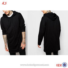 2016 Wholesale Oversized Super Longline long Sleeve T-Shirt With Hood In Slub Fabric