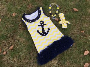 2015 new baby girls clothing baby kids yellow chevron navy dot anchor dress with chiffon ruffles with matching necklace and bows