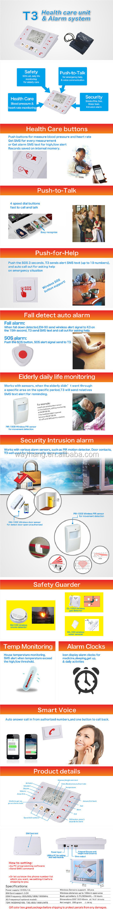 GPRS GSM 3G Emergency Alarm Telecare Helper System SMS For Blood Pressure Monitor With Android APP King Pigeon T4 Kit