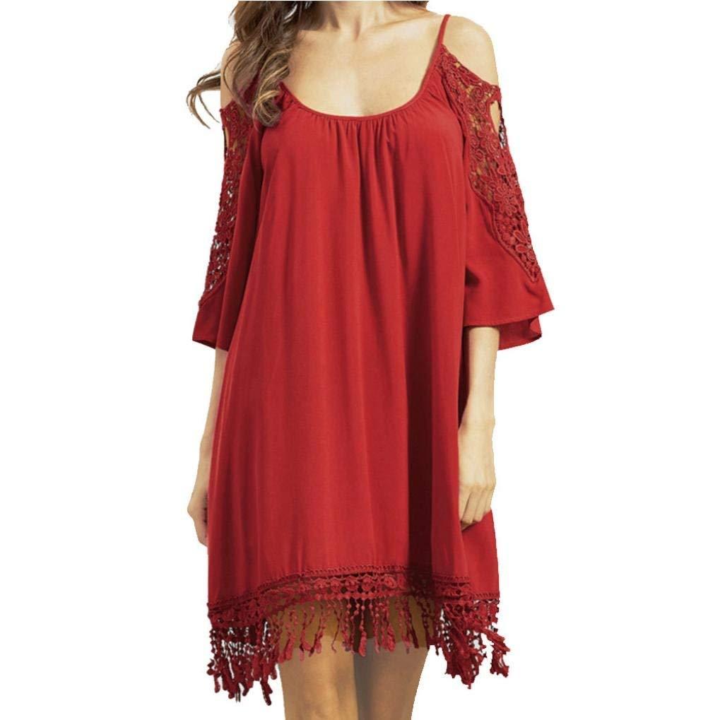 Hot Sale! Women Casual Dresses,Vanvler [Ladies Off Shoulder Dress ]Cropped Sleeve Fringe Lace Dress (XL, Red)