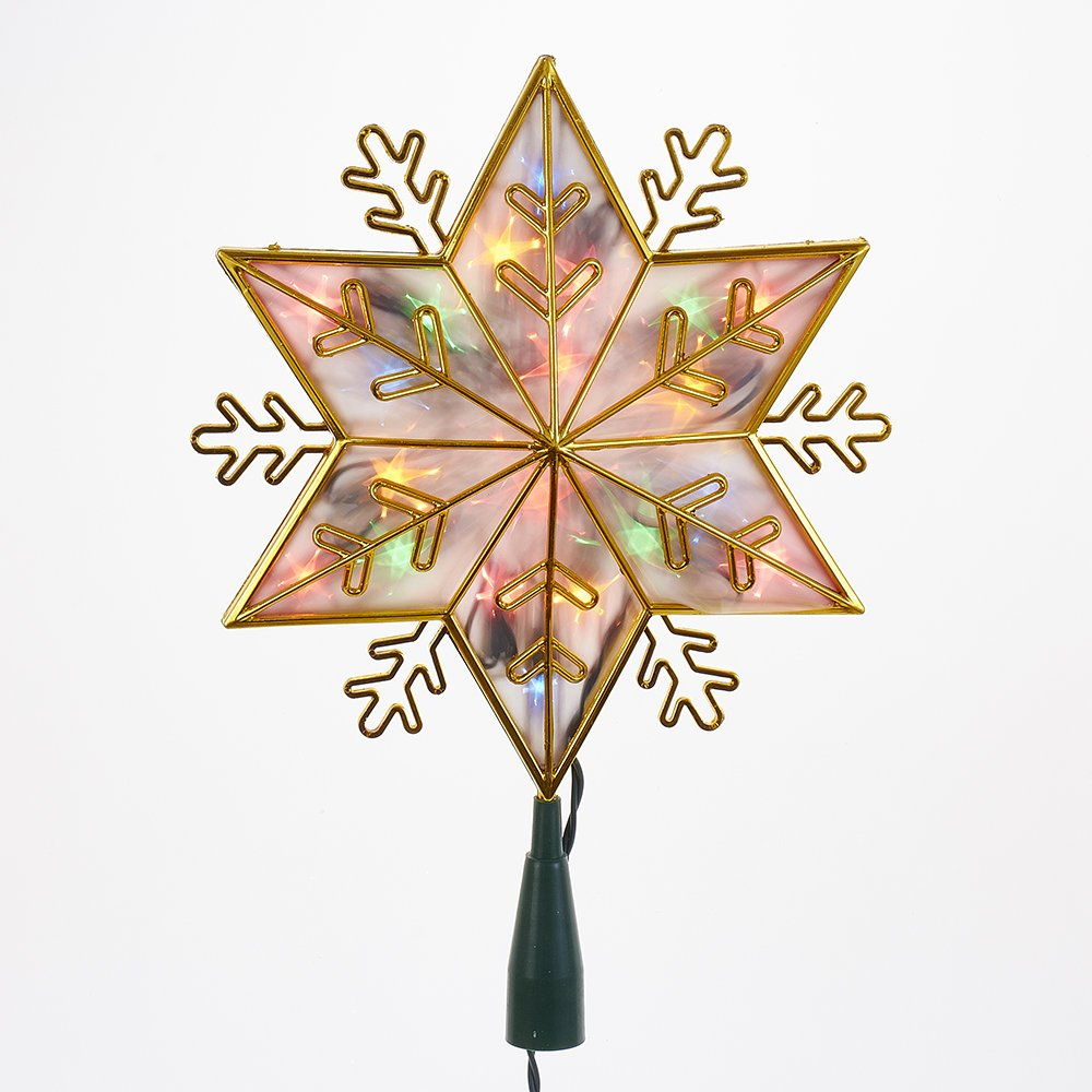 Kurt Adler UL 20-Light Gold Snowflake Star Treetop with Multi-Colored Lights