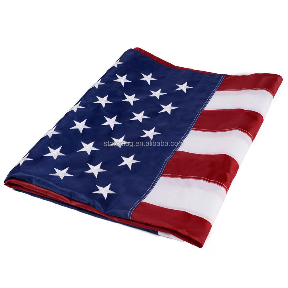 6'x10' FT American Flag stock USA Sewn Stripes Embroidered Stars print flag