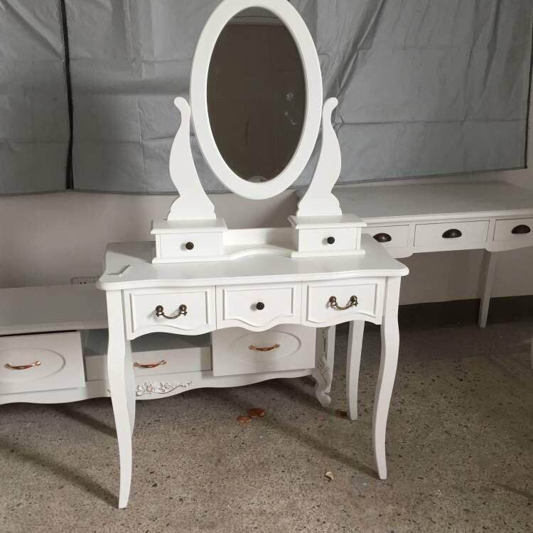 2017 элегантность туалетный столик набор с табурет 5 ящиков и зеркало тщеславия макияж деревянный стол белый Buy набор туалетного столика 2017