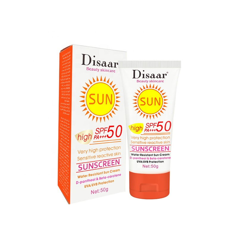 Disaar SPF 50 High Protection water resistant whitening sunscreen lotion with packaging tubes