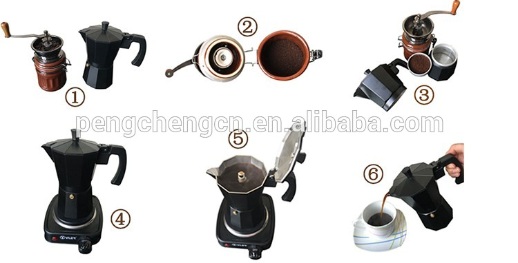 Italian Stainless steel Stovetop Espresso Latte Coffee Maker moka Percolator Pot