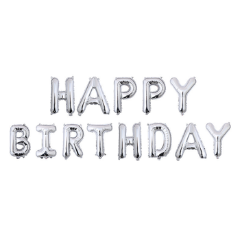 2018 New Hot Sale 16 Inch Silver Happy Birthday Letter Foil Balloon Party Decoration Set