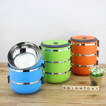 3 Compartment Food Container,Insulated Thermos Metal Stainless Steel Lunch Box For Kid