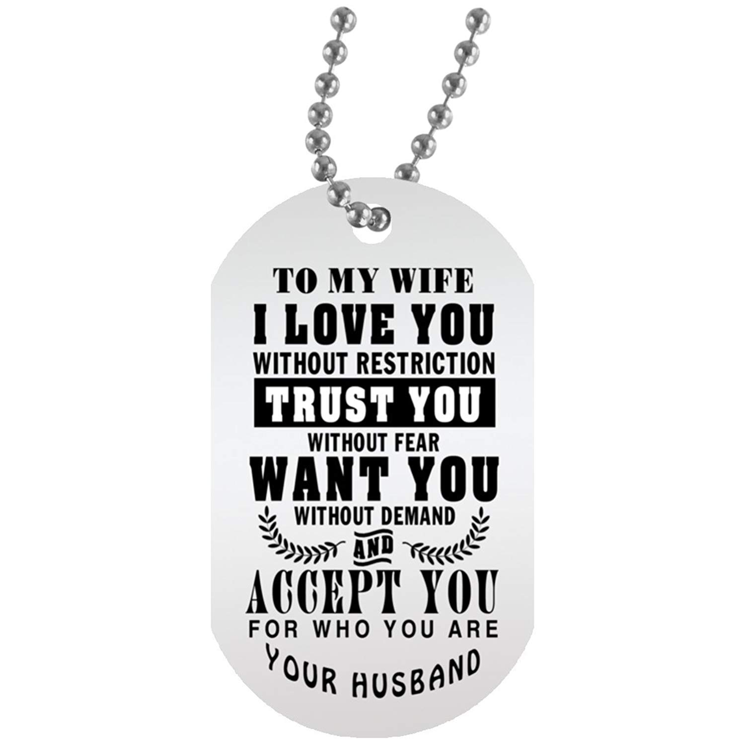 4f2d69fb31 Get Quotations · eConvenience Store Trust You Wife Necklace Dog Tag  Military - Personalized Anniversary Gifts For Wife -