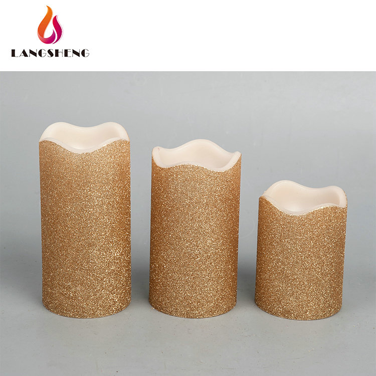 OEM Customised New Style Sparkling Giant LED Electronic Tall Glitter Wax Flameless Pillar Candles For Christmas Decorations