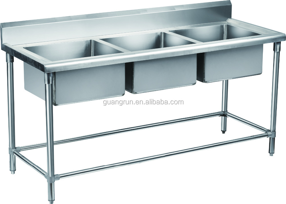 Restaurant Used Double Bowls Free Standing Commercial Stainless Steel  Kitchen Sink Gr 310b