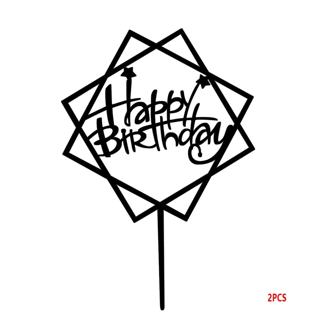 Harmily Square Happy Birthday Cake Topper Acrylic DIY Cupcake Cake Smash Candle Alternative Party Handmade Stick