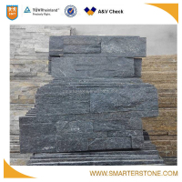 Black color natural stone slate for wall cladding