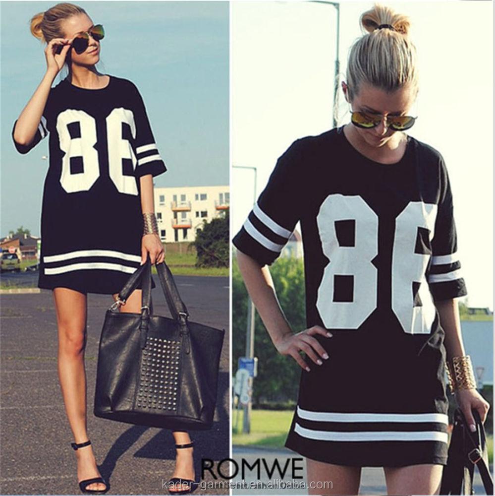 Black t shirt dress ebay - Half Sleeve Custom Crew Necks Football T Shirt Dress Baseball T Shirt Dress