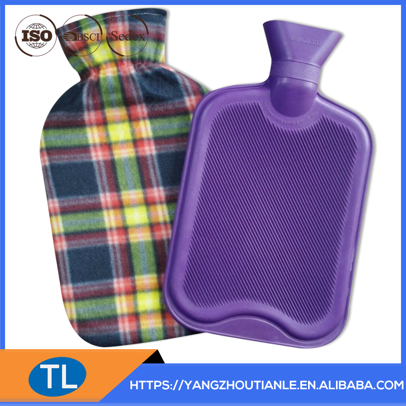 purple and orange stripe design fleece cover with hot water bottle