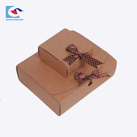 Folding brown kraft paper food industrial use packaging box with handle