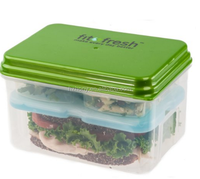 Fit & Fresh Lunch on the Go Set with Ice Pack, 3 Reusable Containers with Lids, BPA-Free