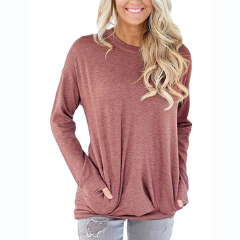 Women Long Sleeve Solid Batwing Tunic Tops With Pockets