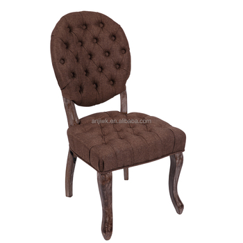 French Style Wooden Round Back Chair Antique Tufted Back Dining