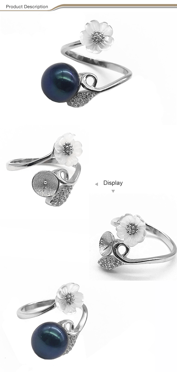 2019 fashion jewelry 925 sliver engagement adjustable shell flower ring with natural pearl
