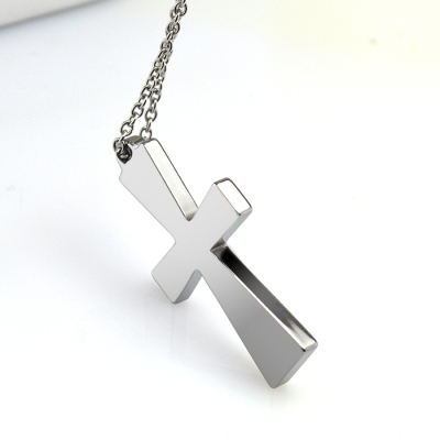 Newest Polished Finish Men's Tungsten Carbide Cross Pendant 22 Inch Necklace Jewelry
