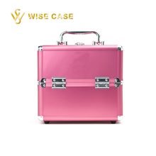 Pink Aluminum Empty Cosmetic Makeup Kit Train Case